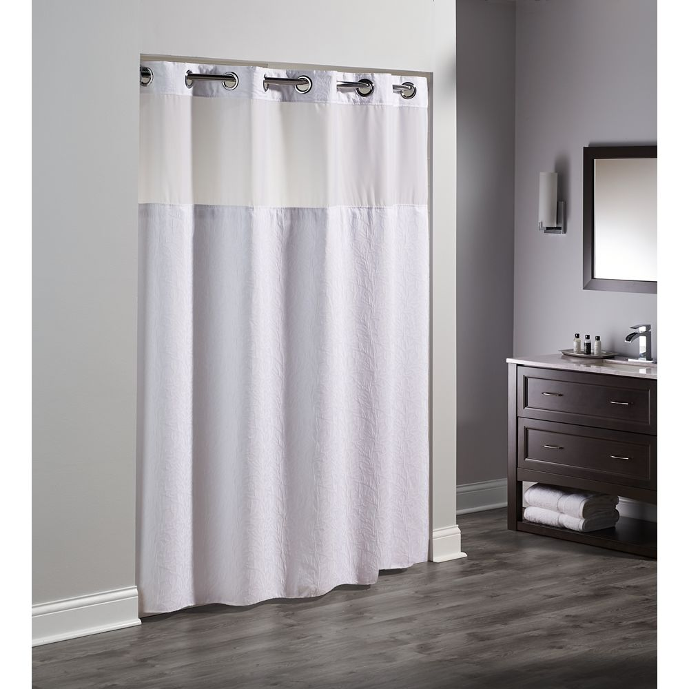 "Hookless® Coral Polyester Shower Curtain with Sheer Window & Snap Liner, 71""x77"", White"