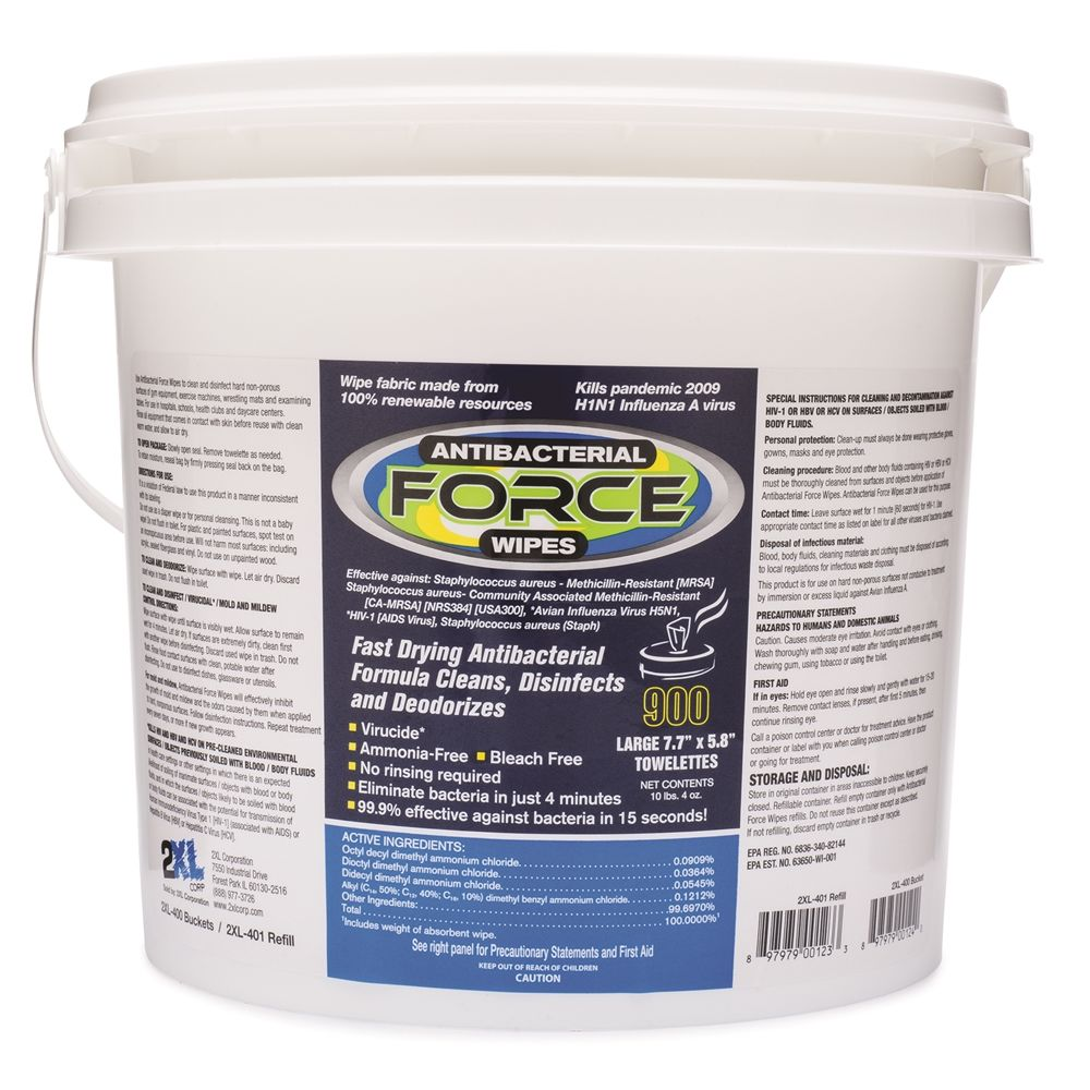 2XL-400 Antibacterial Force Wipes 900 Count Bucket *replaced with 0070508 & 0035043*