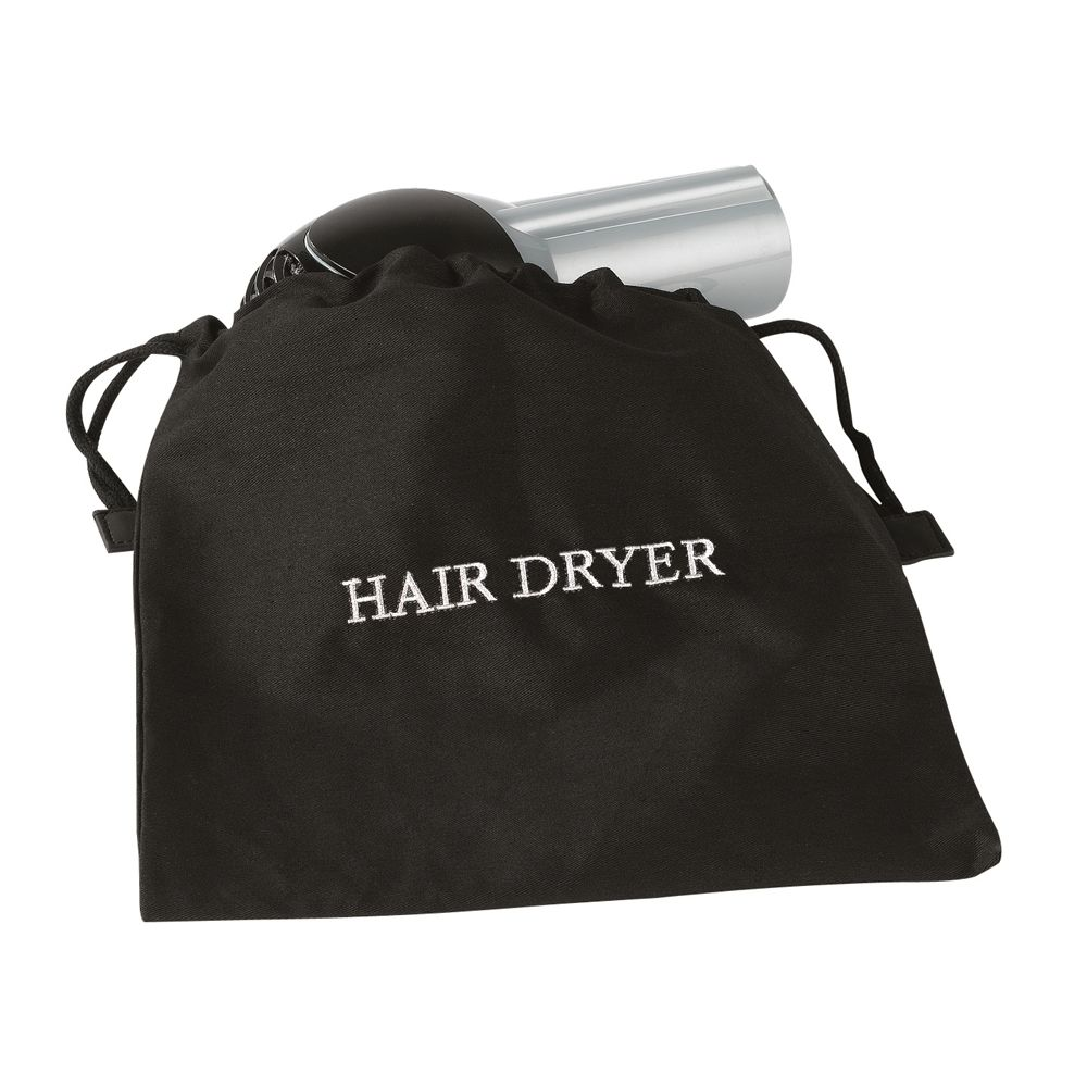 Hair Dryer Bag, Fire Retardant, Black with White Embroidery