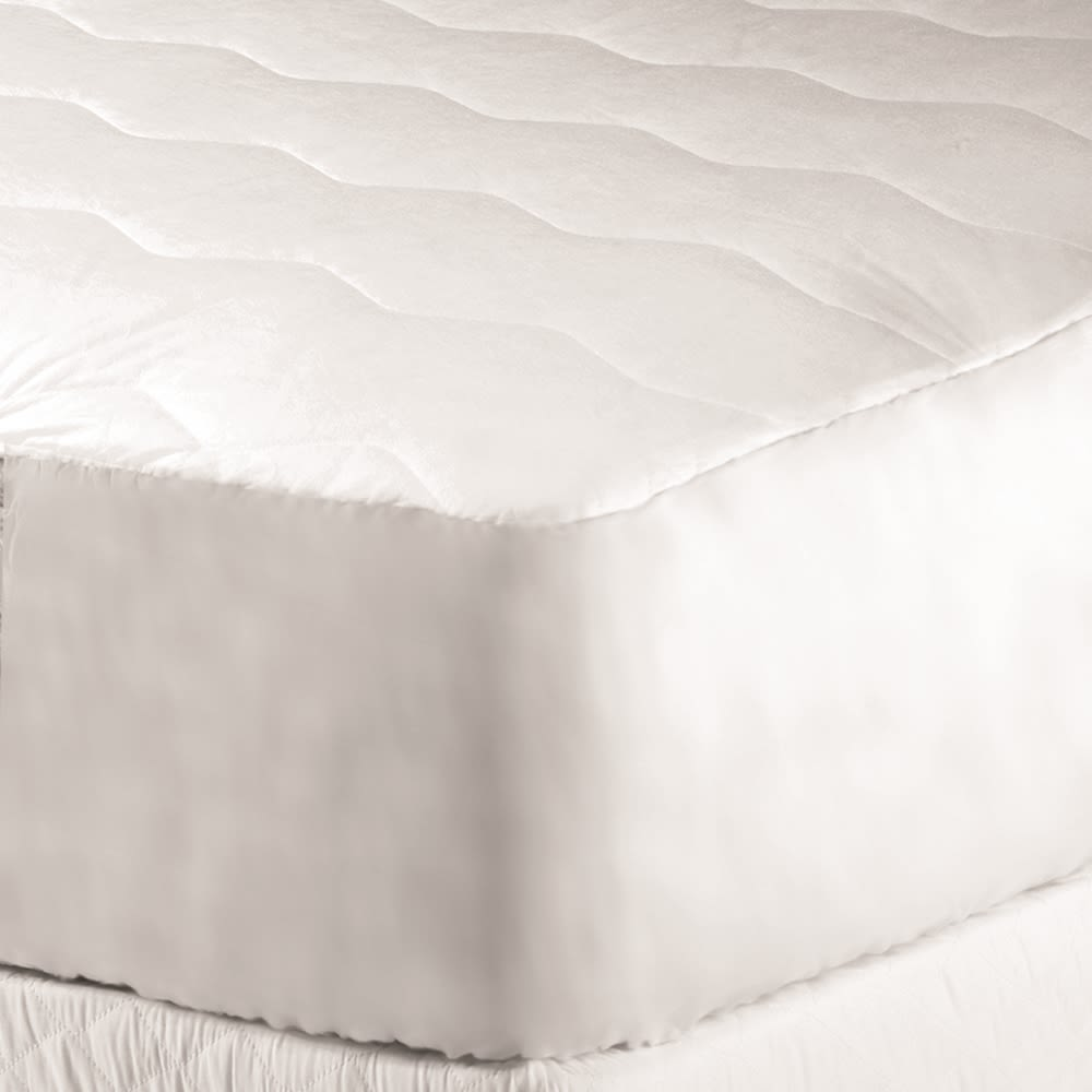 Classic Plus Mattress Pad, Quilted 4 oz, Cloth Top & Bottom, Hotel King 72x80, Fitted Skirt