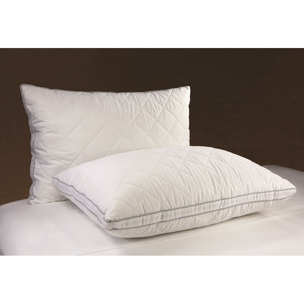 Diamond Pillow, Support Gel Fiber Fill, T180 Pinsonic Quilted Cover w/Gusset, Std 20x26, 22oz, White