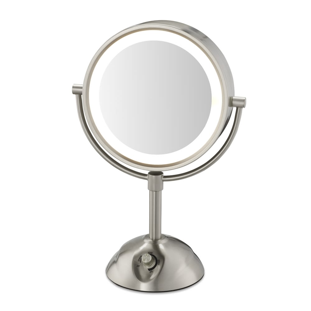 Conair® Lighted, 5x Magnification Mirror with Power Outlet, Satin Nickel Finish