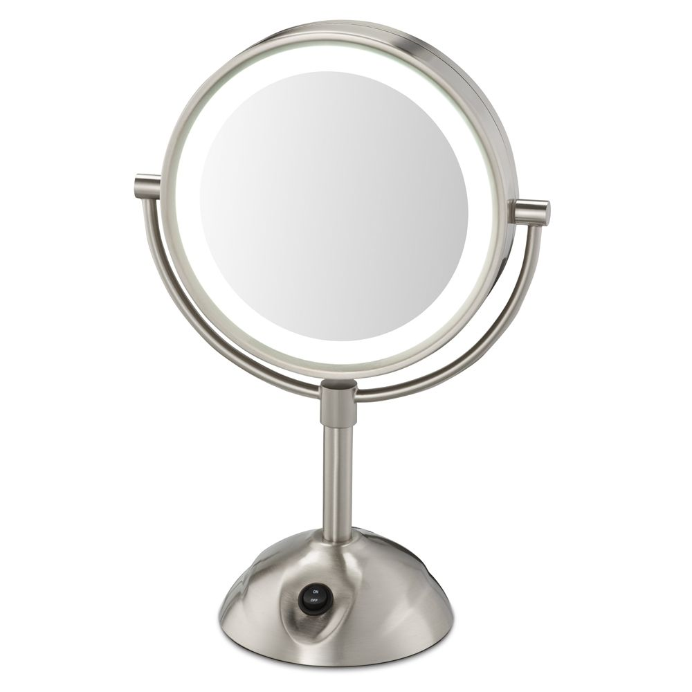 Conair® Lighted, Two-Sided, 5x Magnification Vanity Mirror with Power Outlet, Satin Nickel Finish