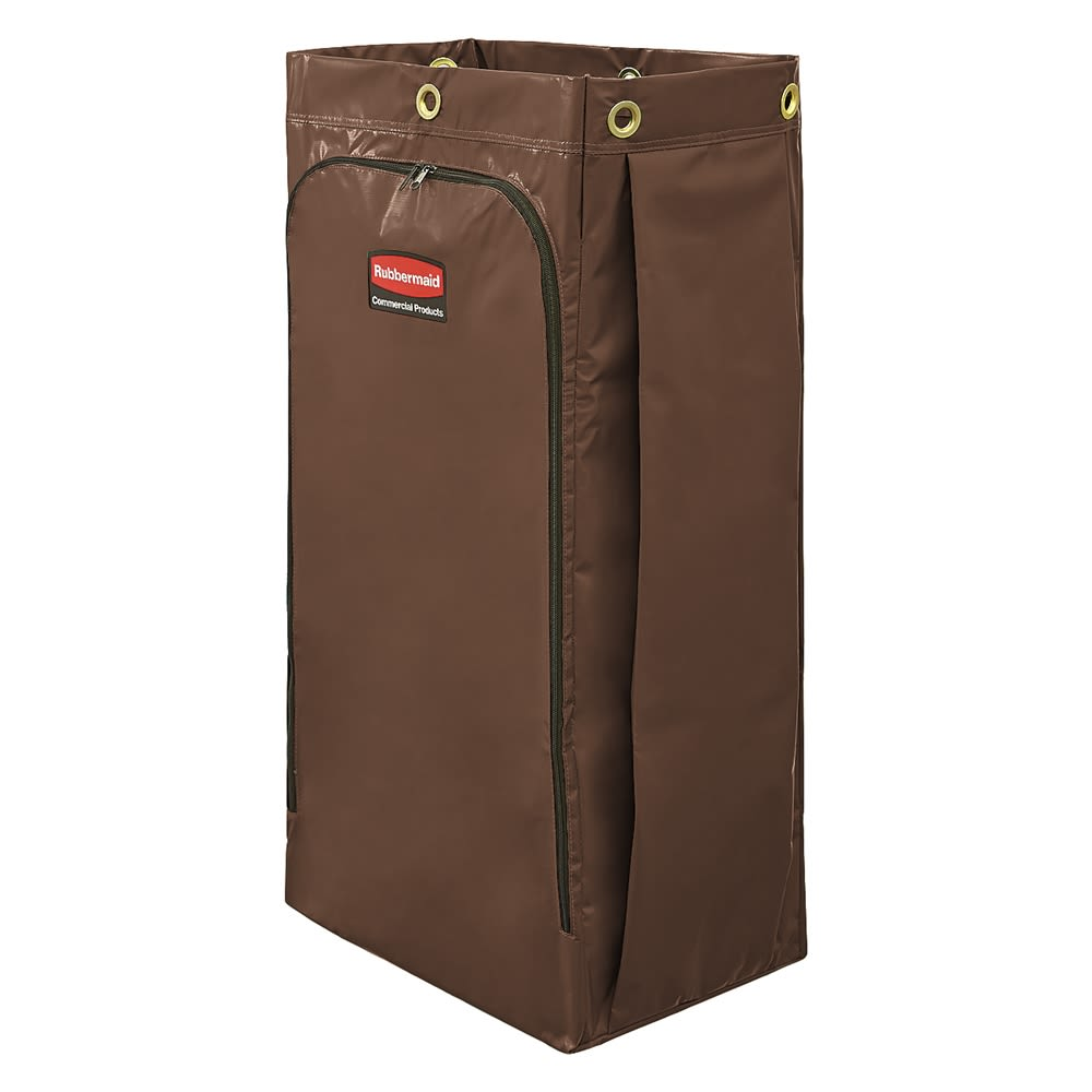 Rubbermaid® 34 Gallon Janitorial Cleaning Cart Zippered Vinyl Bag, 10.5Lx17Wx 33H, Brown