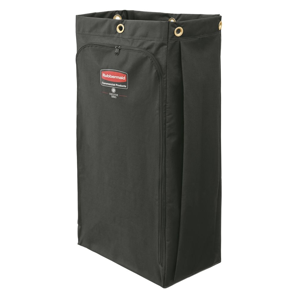 Rubbermaid® 30 Gallon Canvas Vinyl-Lined Bag, Zippered Front, Black