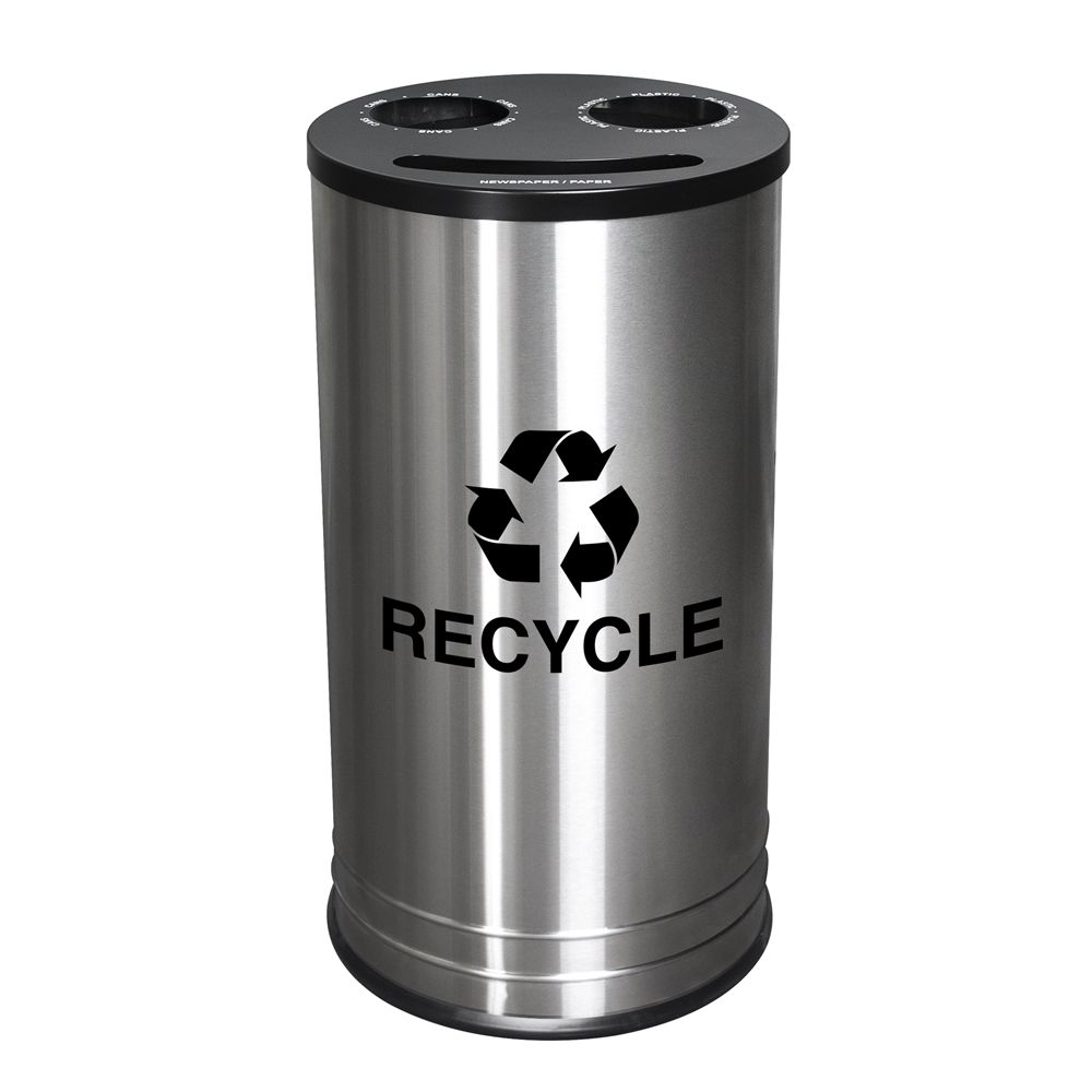 Ex-Cell Kaiser® Smiley® 3-Stream Recycling Receptacle, 14 gallon Stainless Steel with Black Top