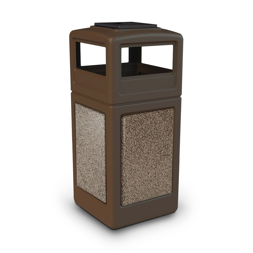 Commercial Zone® StoneTec® 42 Gallon Waste Container Ashtray Lid Brown with Riverstone