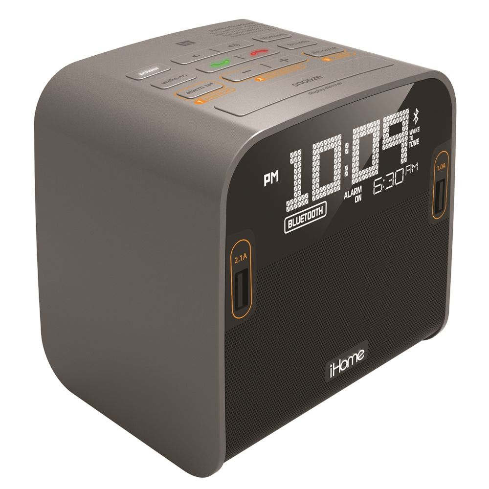 iHome HBN22G Bluetooth Alarm Clock with Dual USB