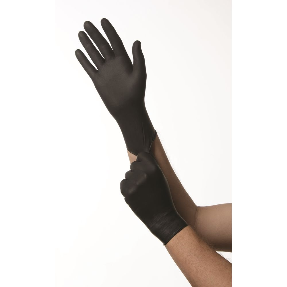 Ambitex® Nitrile Gloves Powder Free 6 Mil, Black, Medium 100/box