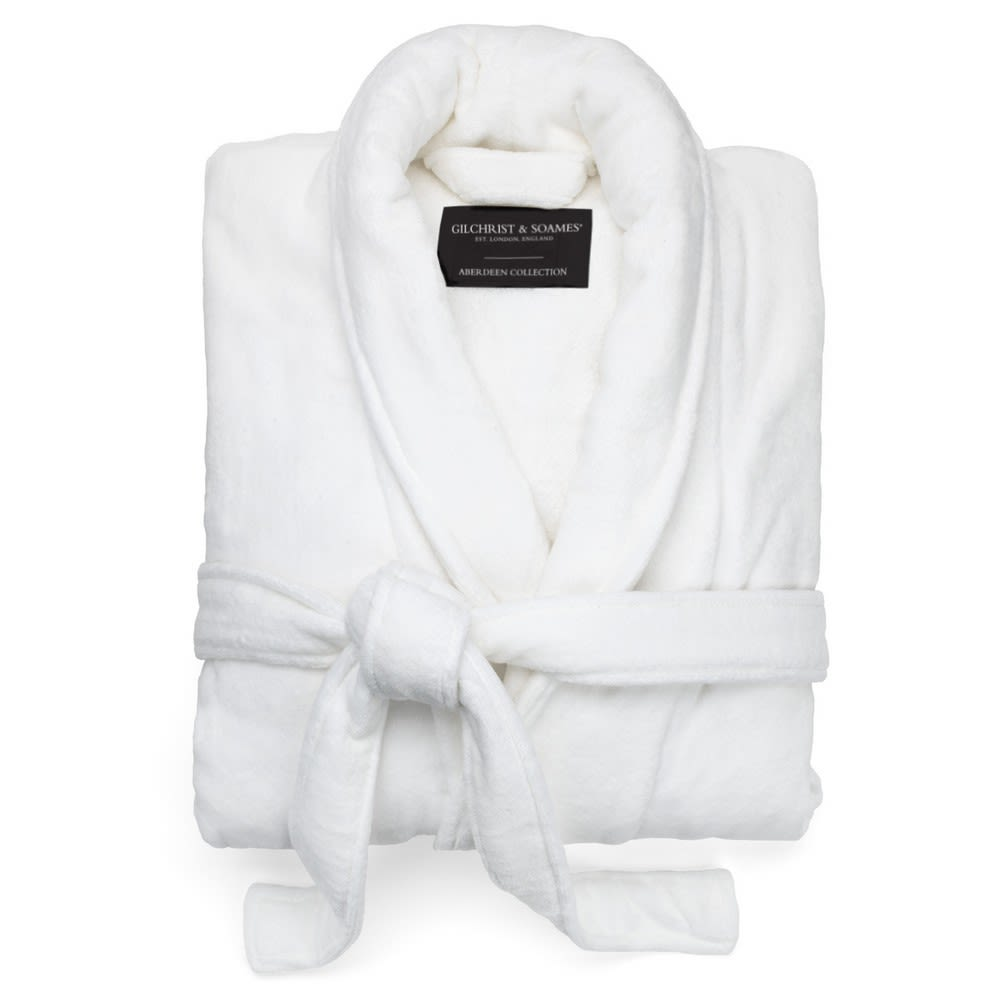 Aberdeen Terry Velour Robe, Shawl Collar, 100% Cotton, 52in L, 16oz, White