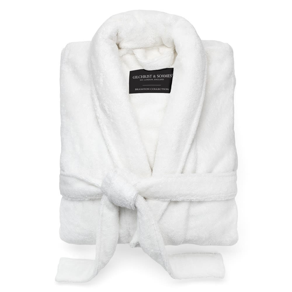 Brighton Terry Robe, Shawl Collar, 100% Cotton, 52in L, 16oz, White