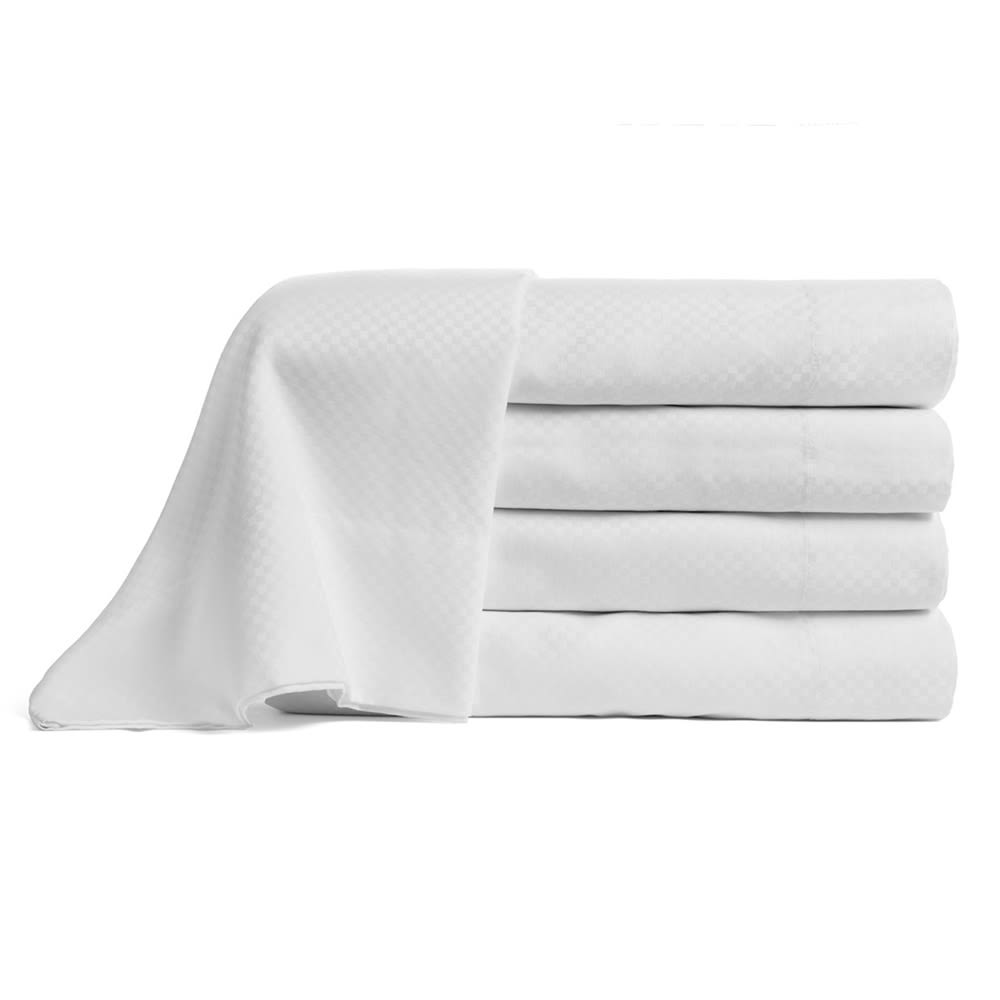 Carnaby Collection T300 Cotton Microcheck Fitted Sheet, Full/Double 54x80x16, White