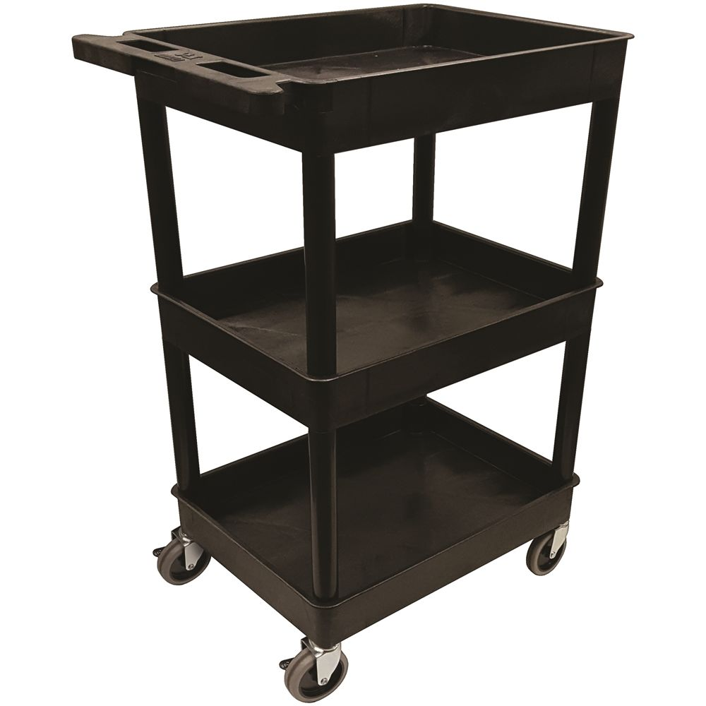APEX Plastic Utility Cart, 38.5 in, Black