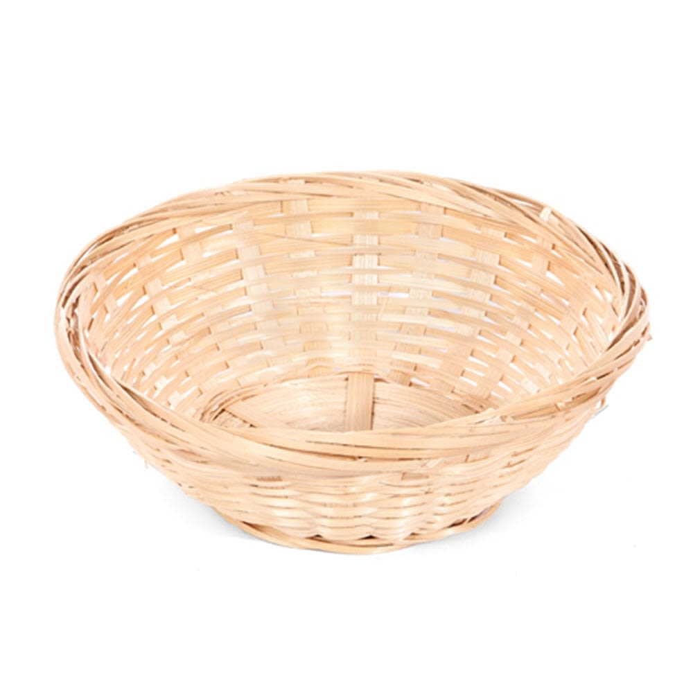 "Handwoven Bamboo 6"" Round Basket, Natural"