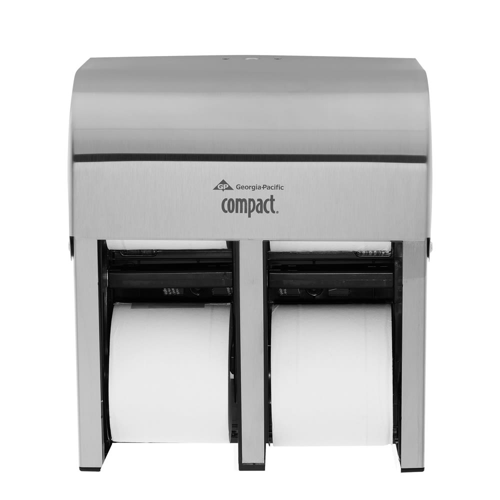 Compact 4-Roll Quad Coreless High-Capacity Toilet Paper Dispenser by GP PRO, Stainless