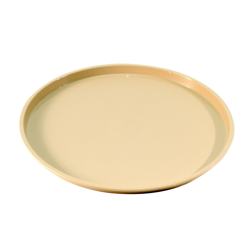 "Essential 12"" Round Plastic Tray with Spill Proof Ring, Beige"