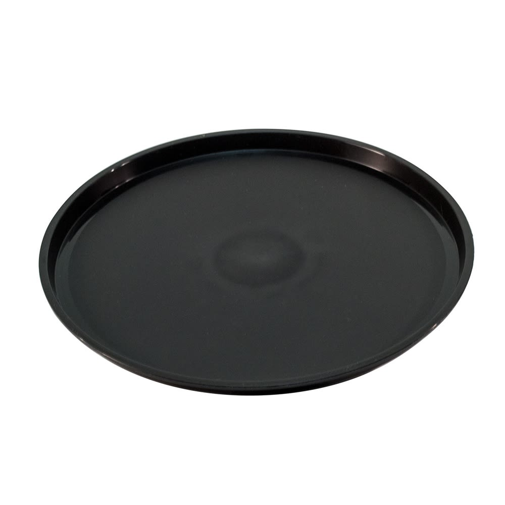 "Essential 12"" Round Plastic Tray with Spill Proof Ring, Black"