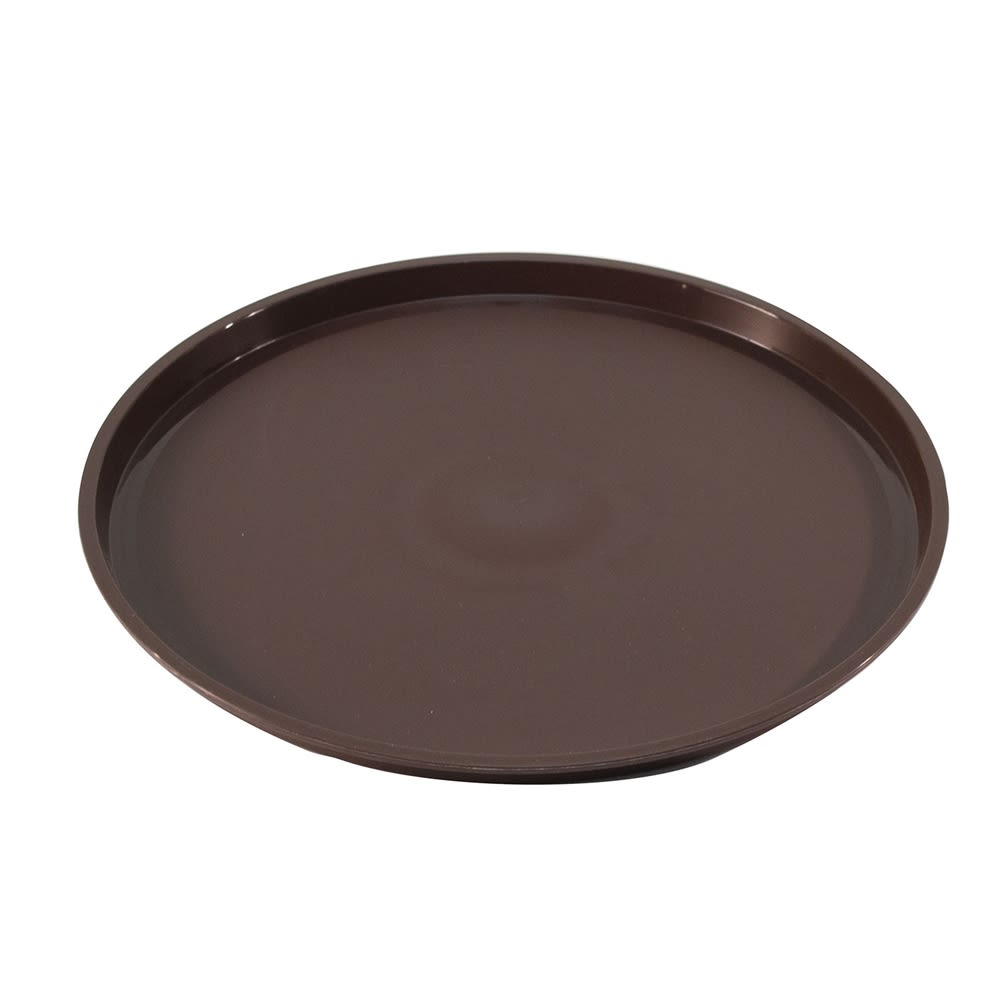 "Essential 12"" Round Plastic Tray with Spill Proof Ring, Walnut"