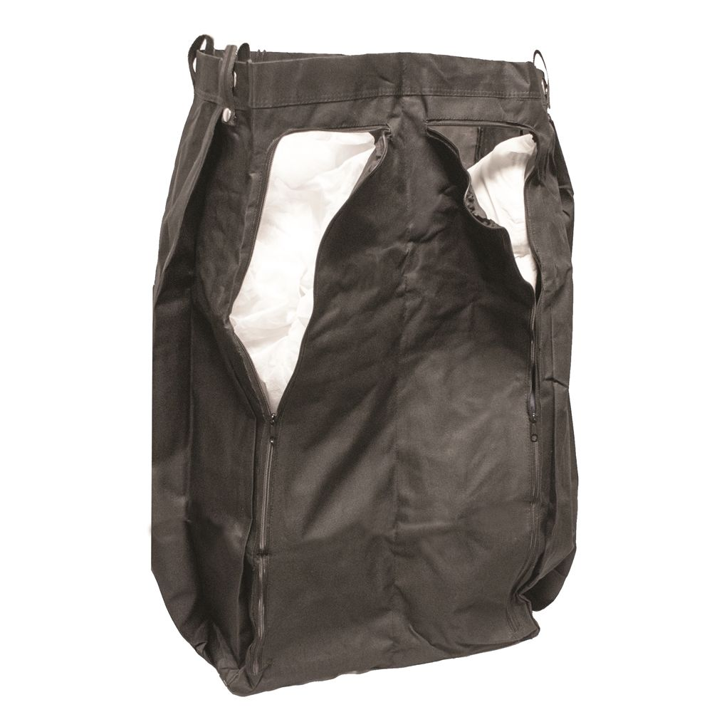 Divided Housekeeping Cart Bag w/ 2 Zipper Opening Compartments, Black