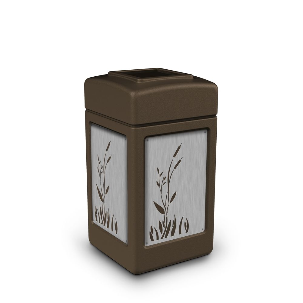 Commercial Zone® 42 Gallon Open Top Brown Waste Receptacle Cattails Stainless Steel Design