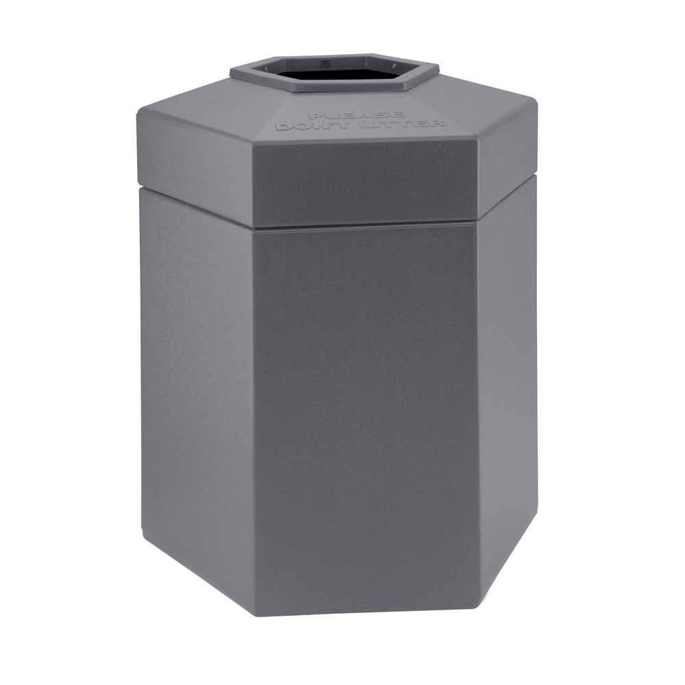 Commercial Zone® 45 Gallon Hexagon Waste Container, Gray