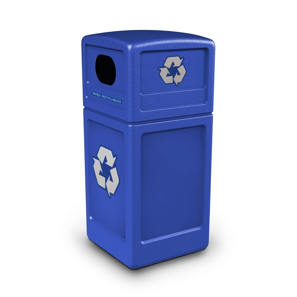 Commercial Zone® Recycle42 Recycling Receptacle with Decals, Blue