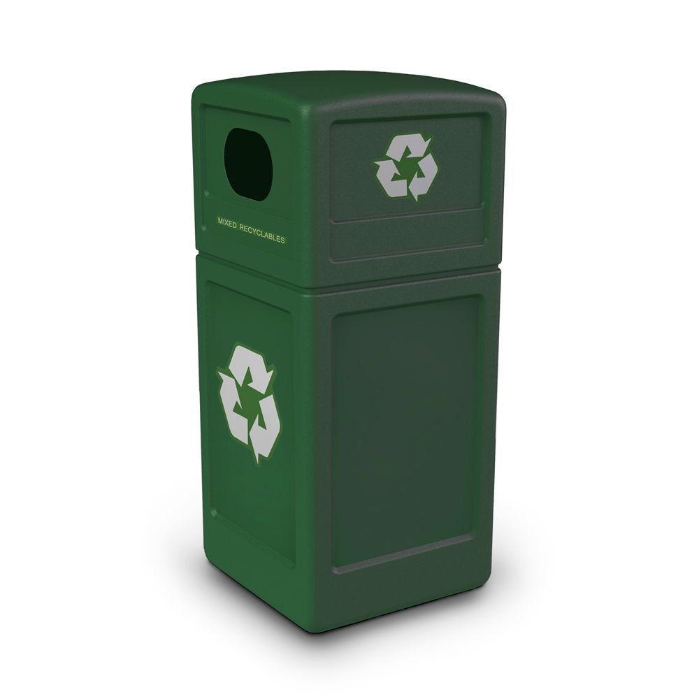Commercial Zone® Recycle42 Recycling Receptacle with Decals, Green