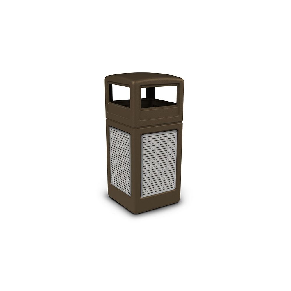 Commercial Zone® 42 Gallon Dome Top Brown Waste Receptacle Horizontal Lines Stainless Steel Design