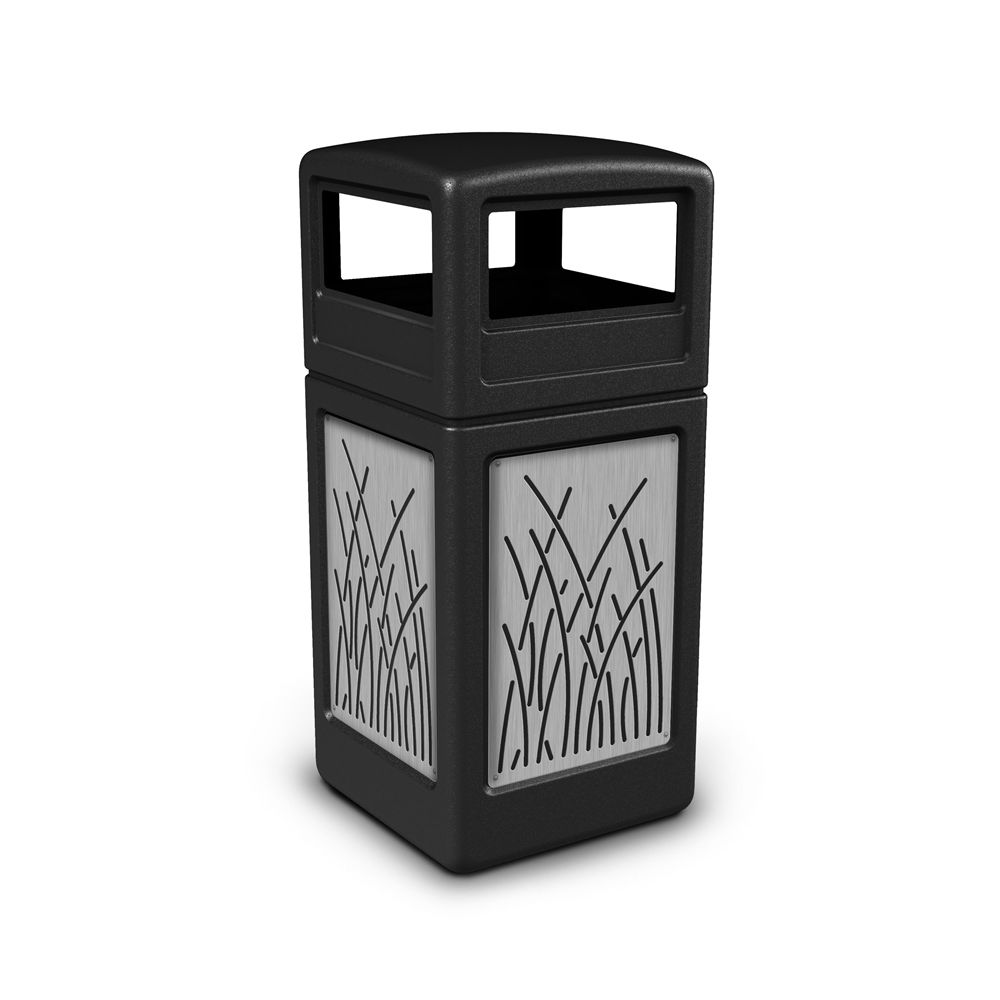 Commercial Zone® 42 Gallon Dome Top Black Waste Receptacle with Reed Stainless Steel Design