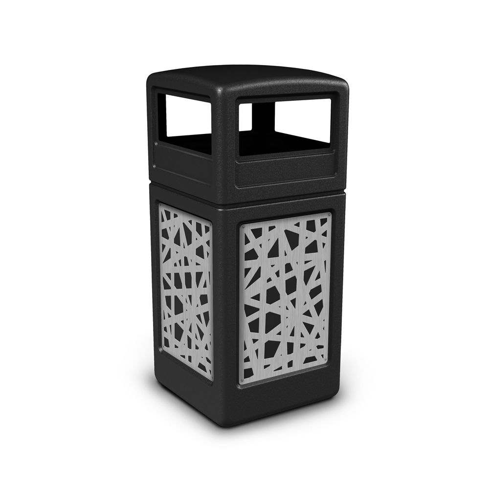 Commercial Zone® 42 Gallon Dome Top Black Waste Receptacle with Intermingle Stainless Steel Design