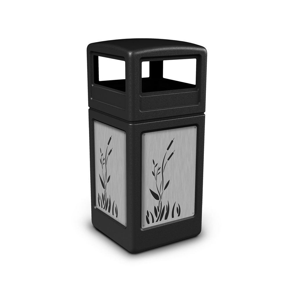 Commercial Zone® 42 Gallon Dome Top Black Waste Receptacle Cattails Stainless Steel Design