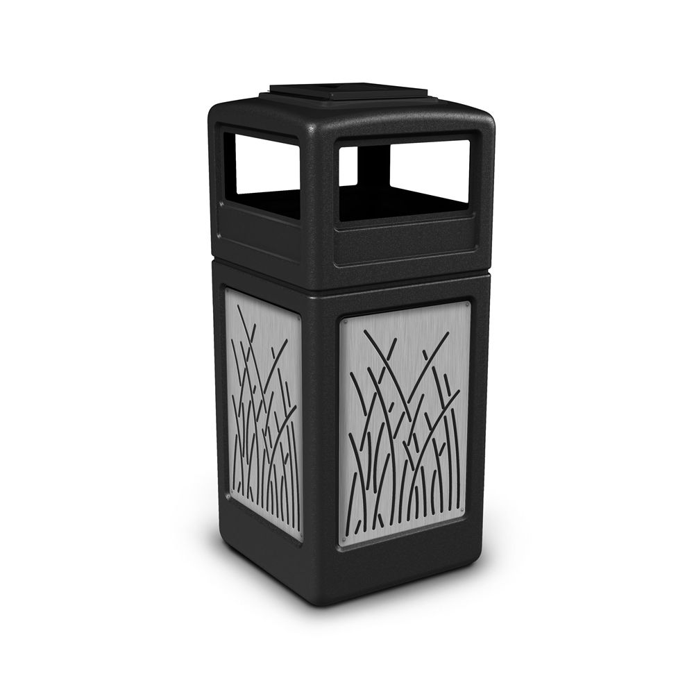 Commercial Zone® 42 Gallon Ashtray Top Black Waste Receptacle with Reed Stainless Steel Design