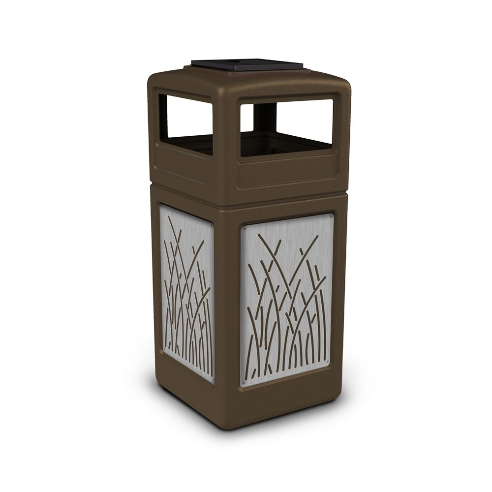 Commercial Zone® 42 Gallon Ashtray Top Brown Waste Receptacle with Reed Stainless Steel Design