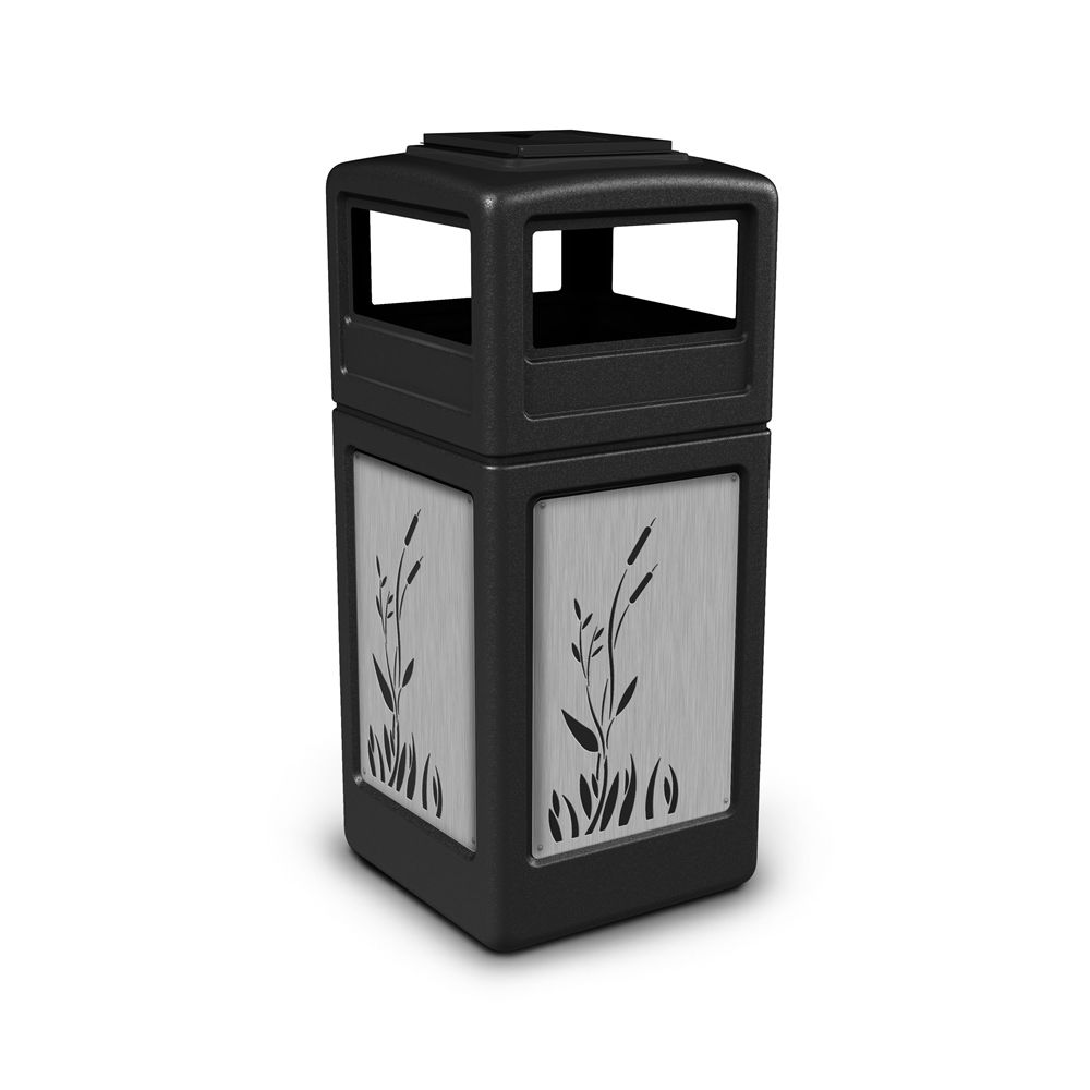 Commercial Zone® 42 Gallon Ashtray Top Black Waste Receptacle Cattails Stainless Steel Design