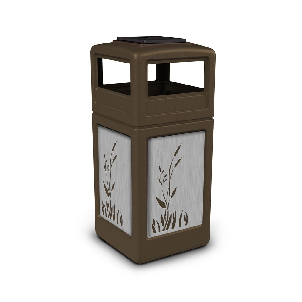 Commercial Zone® 42 Gallon Ashtray Top Brown Waste Receptacle Cattails Stainless Steel Design