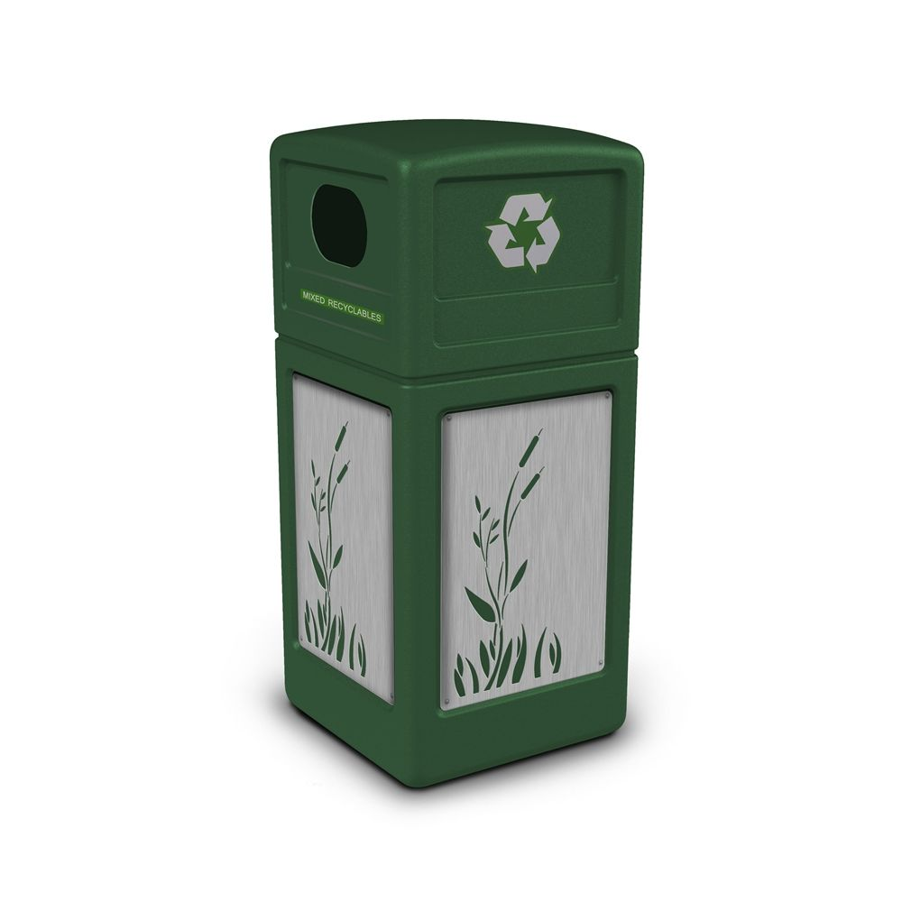 Commercial Zone® 42 Gallon Recycle42 Green Waste Receptacle with Cattail Stainless Steel Design