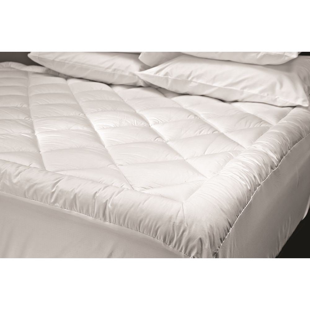 Boutique Mattress Topper Quilted 12 oz Blended Top & Bottom, Full XL/Dbl XL, 54x80, Fitted Skirt