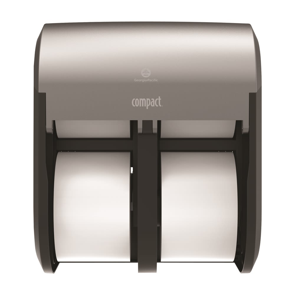 Compact 4-Roll Quad Coreless High-Capacity Toilet Paper Dispenser by GP PRO, Faux Stainless