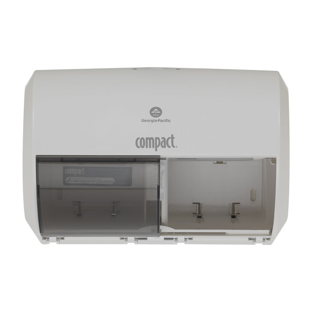 Compact 2-Roll Side-by-Side Coreless High-Capacity Toilet Paper Dispenser by GP PRO, White