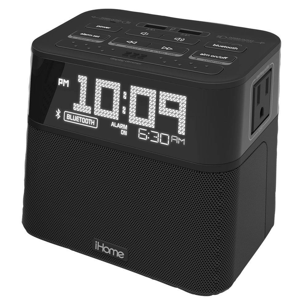 iHome HBH88B Alarm Clock with Single Day Alarm, Dual AC Outlets & Dual USB Charging