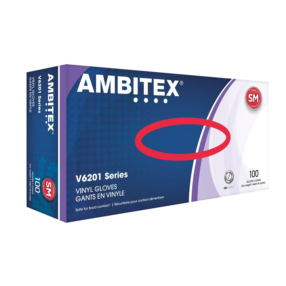 Ambitex® Vinyl Gloves Powder Free, Small, Clear