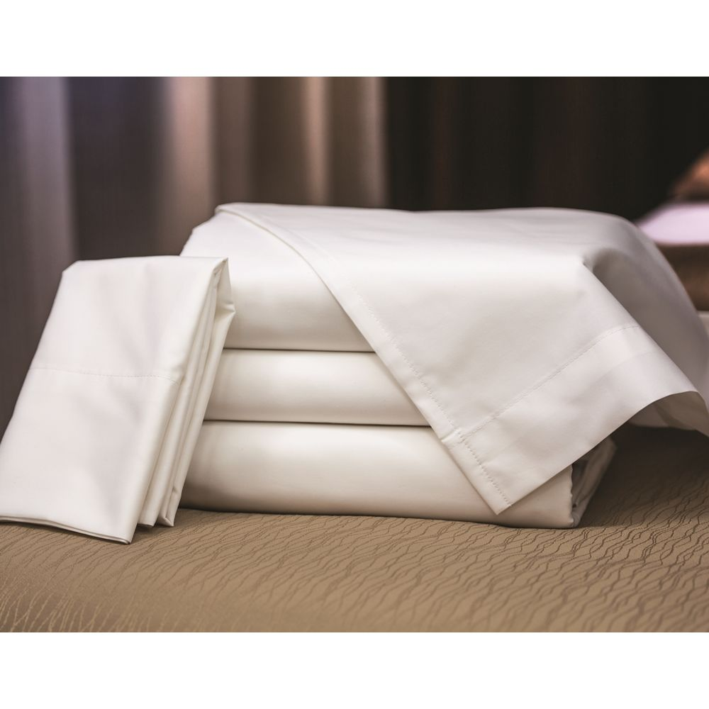 Connoisseur T300 Blend Mercerized Matt Weave King XW Flat Sheet 118x115 FS 1x1 Hem, White