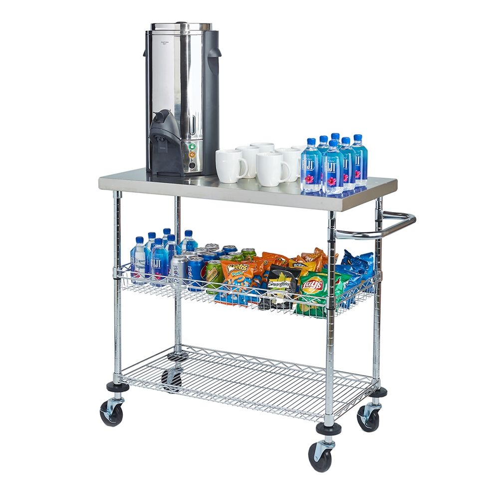 "Focus® Serving Cart with Stainless Steel Top 18"" x 36"" x 36"""