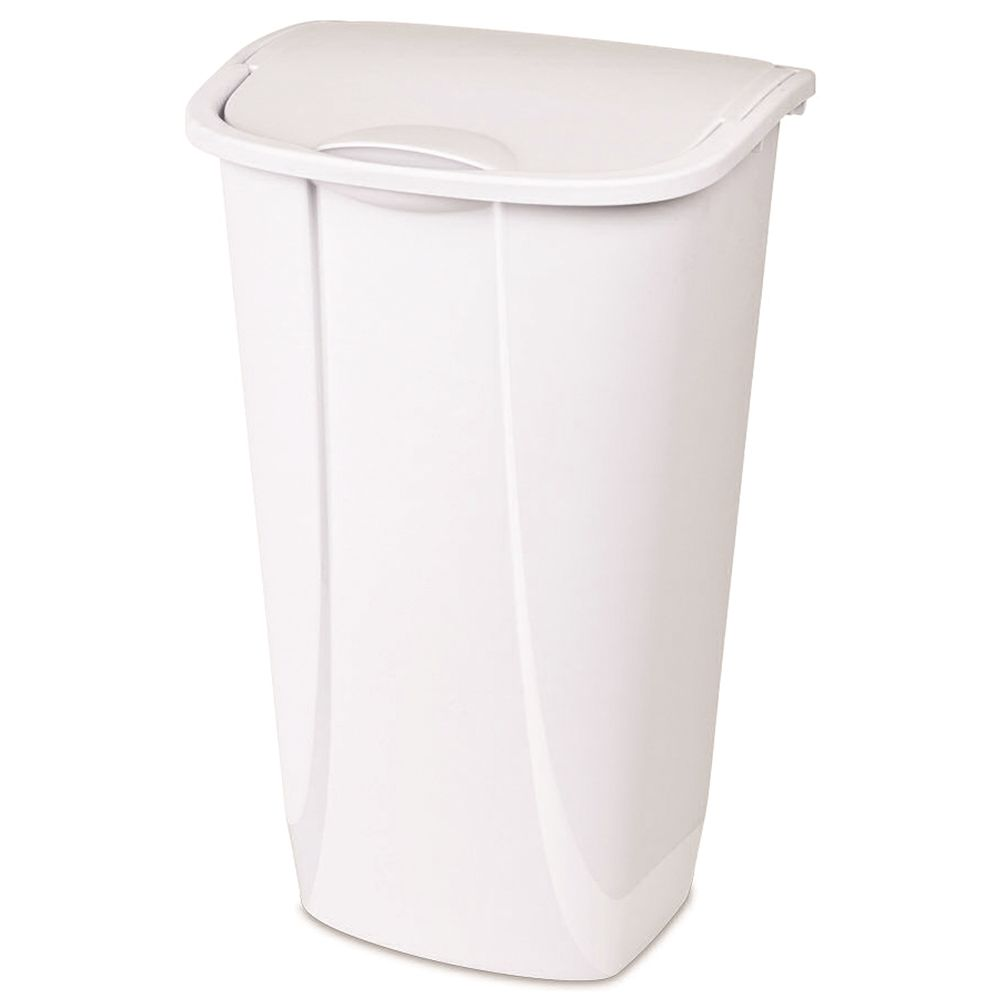44 Quart Wastebasket with Swing Top Lid, White