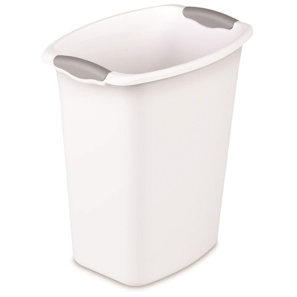 12 Quart Wastebasket with Swing Top Lid, White
