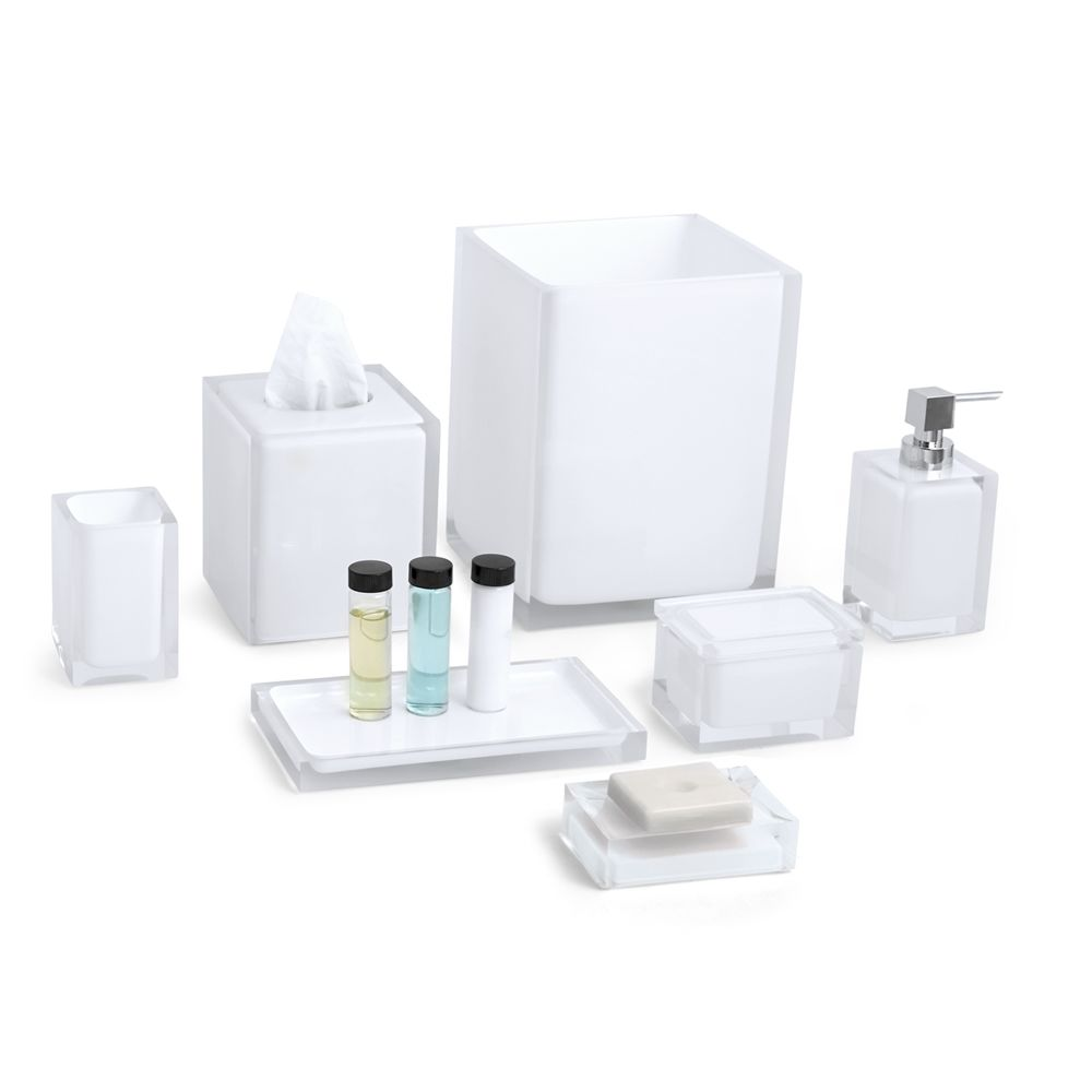Cubix White Collection, Tumbler, Clear/White Accent
