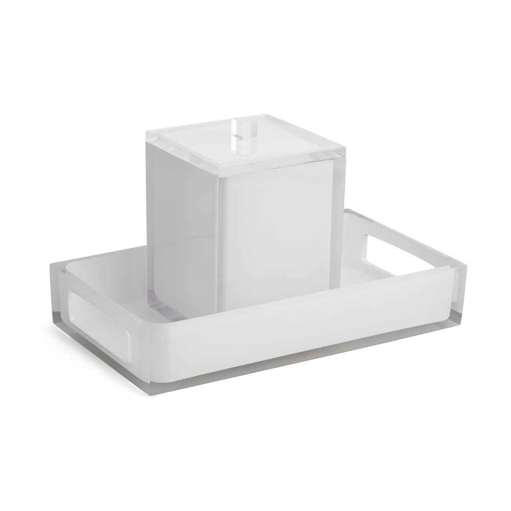 Cubix White Collection Resin Bar Tray, Clear/White Accent