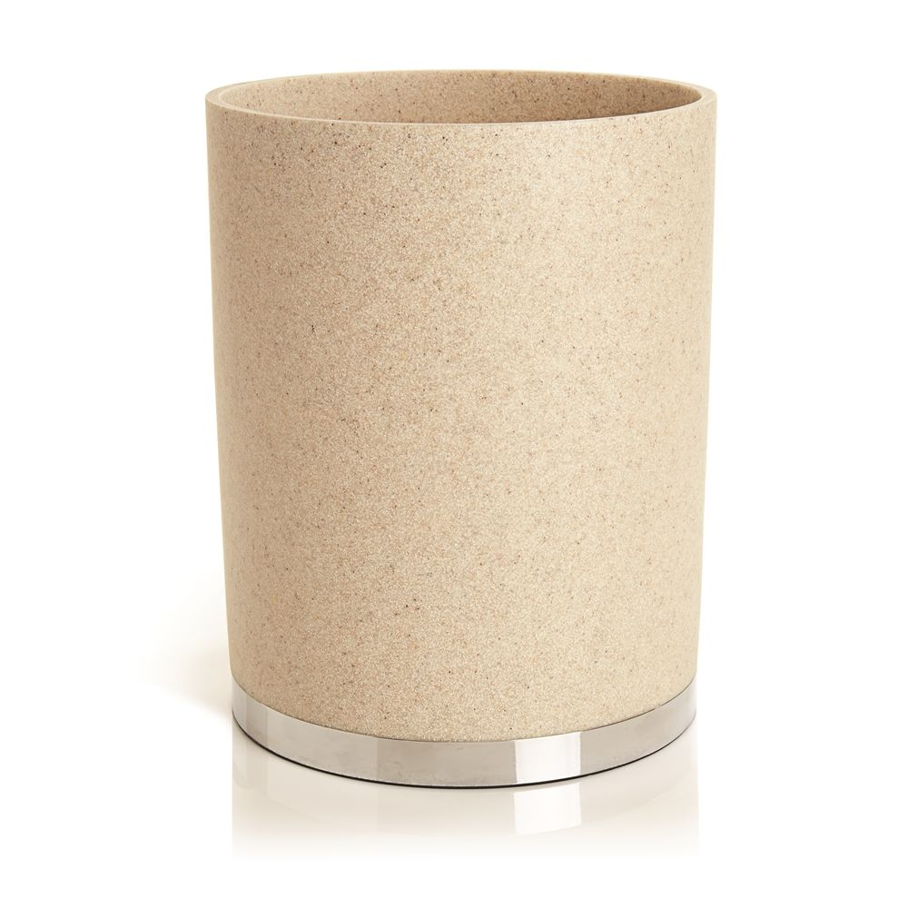 Alistaire Collection, Sandstone Resin 8 Quart Wastebasket, Sand