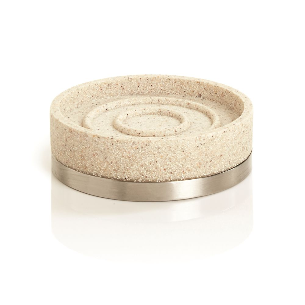 Alistaire Collection, Sandstone Resin Soap Dish, Sand/Stainless Steel