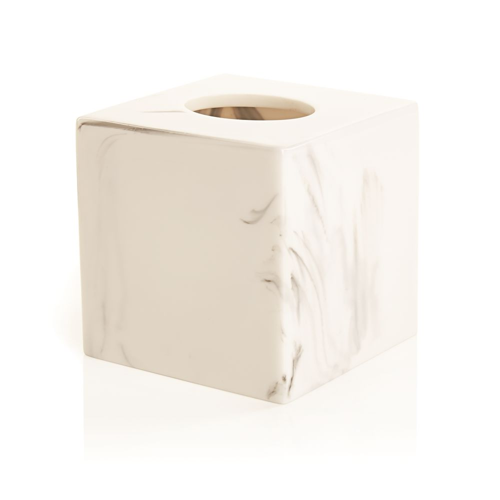 Ashford Collection, Resin Boutique Tissue Box, White Marble